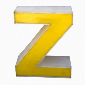 Vintage Yellow Plexiglas Letter Z
