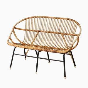 Vintage Rattan & Bambus 2-Sitzer Sofa von Rohé Noordwolde