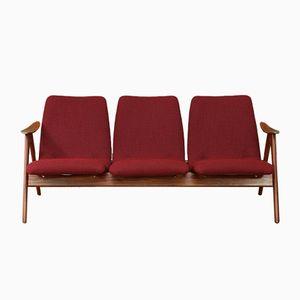 Mid-Century 3-Sitzer Sofa aus dunkelroter Wolle