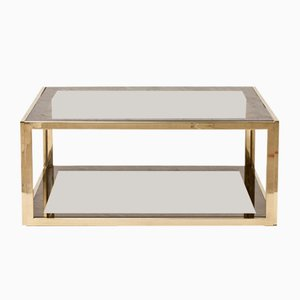 Brass & Smoked Glass Coffee Table, 1970s