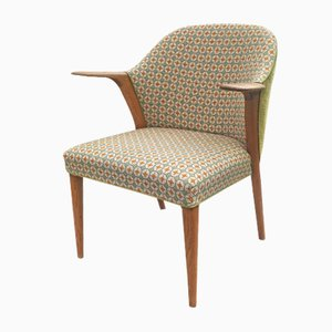 Danish Oak & Fabric Armchair, 1960s