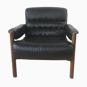 Schwarzer Mid-Century Leder Sessel