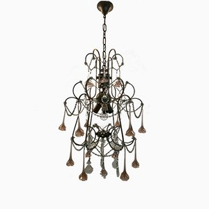 Vintage Chandelier with Pink Murano Flowers