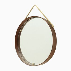 Leather & Brass Circular Mirror from Pizzetti, 1950s