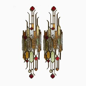 Hammered Glass Sconces from Longobard, 1970s, Set of 2