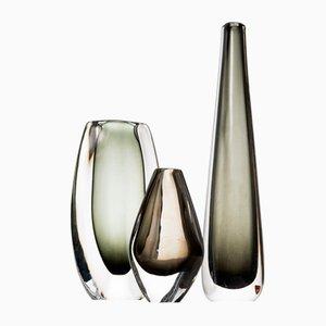Vases Mid-Century en Verre par Nils Landberg pour Orrefors, Set de 3