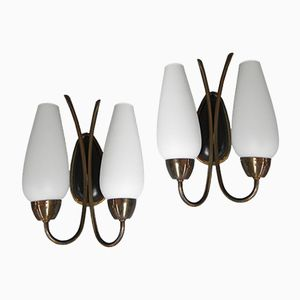 Mid-Century White Glass Wall Lamps, Set of 2