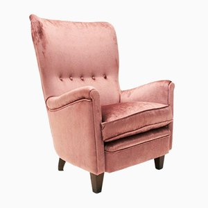Italian Pink Velvet Lounge Chair, 1950s