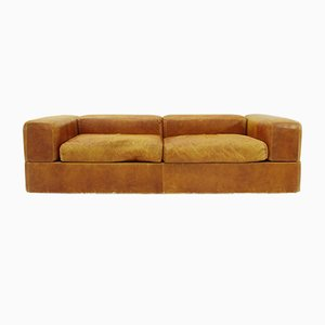 711 Brown Leather Sofa Bed by Tito Agnoli for Cinova, 1960s