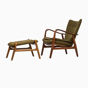 Mid-Century Easy Chair with Stool from Madsen & Schubell, 1950s