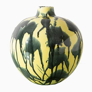 Abstrakte Keramik Vase in Blau & Gelb von Guido Andlovitz für Laveno, 1940er