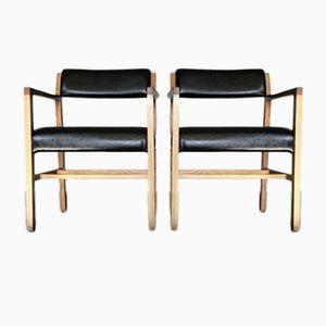 Mid-Century Eichenholz Esszimmerstühle, 1950er, 2er Set