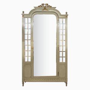 Antiker bemalter französischer Louis XVI Schrank mit Spiegeltür