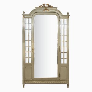 Antique French Louis XVI Painted Armoire with Mirror Door