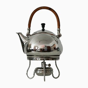 Tea and Water Kettle with Warmer by Peter Behrens for Berliner Metallwarenfabrik H.A. Jürst & Co., 1900s