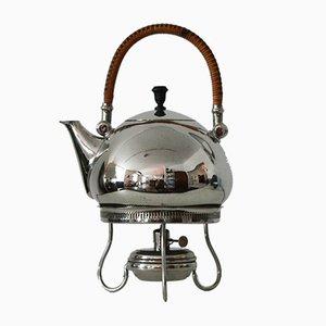 Tee- und Wasserkessel mit Stövchen von Peter Behrens für Berliner Metallwarenfabrik H.A. Jürst & Co., 1900er