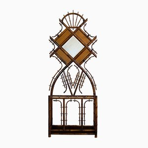 Antique Art Nouveau Bamboo Coat Rack with Faceted Mirror, 1900s