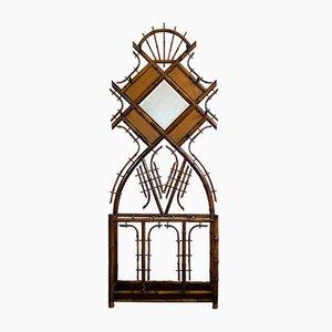 Portemanteau Antique Art Nouveau en Bambou avec Miroir Facetté, 1900s