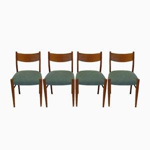Italienische Eichenholz Stühle, 1950er, 4er Set