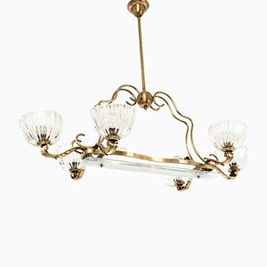 Large Blown Glass & Brass Chandelier by Ercole Barovier, 1940s