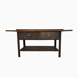 Mid-Century Steel & Pine Worktable