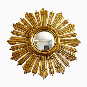 Vintage Sun-Shaped Mirror in Gilt Wood, 1950s