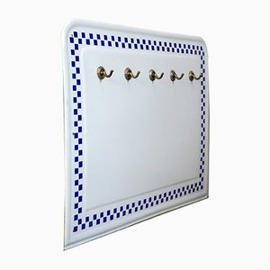 Enamel Wall Rack with Blue Cube Decoration by Joseph Maria Olbrich for Wächtersbach, 1910s