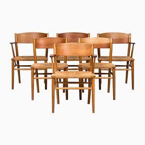 Armlehnstühle & Esszimmerstühle von Børge Mogensen für Søborg Møbelfabrik, 1953, 6er Set