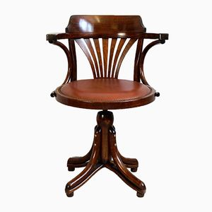 Antique Bentwood Office Swivel Chair with Leather Seat, 1900s