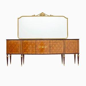 Mid-Century Italian Rosewood Sideboard with Mirror