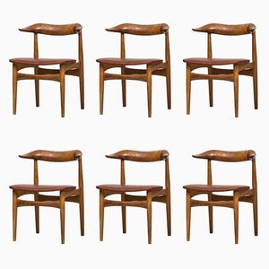Modell SM 521 Cowhorn Chairs von Knud Færch für Slagelse Møbelfabrik, 1960er, 6er Set
