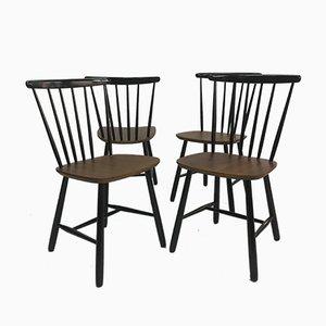 Skandinavische Vintage Esszimmerstühle mit Holzspeichen, 1950er, 4er Set