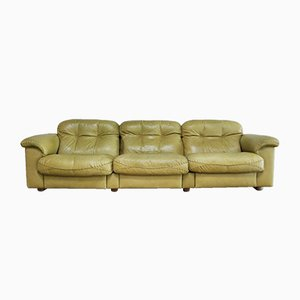 Vintage DS 101 Olive Green Leather Sofa from de Sede