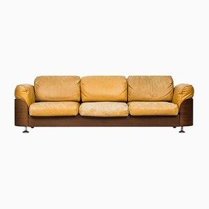 Finnish Teak & Leather 3-Seater Sofa from Hämeen Kalustaja, 1960s