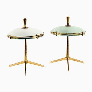 Mid-Century Italian Brass Table Lamps, 1940s, Set of 2