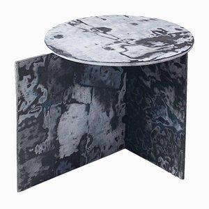 Round Bahia Denim Slate Side Table by Sophie Rowley