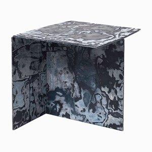 Square Bahia Denim Slate Side Table by Sophie Rowley