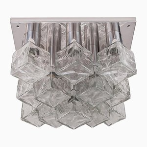 Nickel-Plated & Cast Ice Glass Flush Mount Light from Kalmar, 1970s