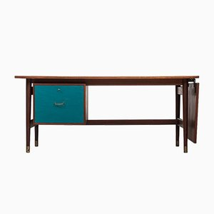 Vintage Danish Desk in Teak & Brass