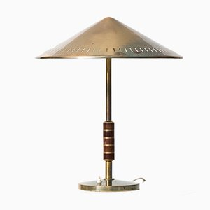 Brass & Mahogany Table Lamp, 1960s