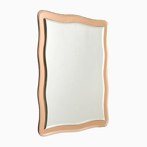 Italian Wall Mirror with Pink Frame, 1970s