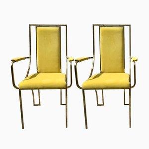 Gelbe Vintage Metall Stühle, 2er Set