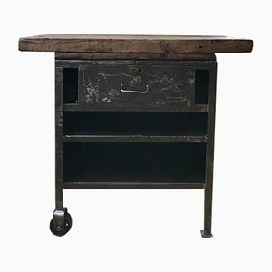 Vintage Wood & Metal Console Table