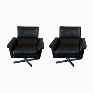 French Black Leather Swivel Chairs, 1970s, Set of 2