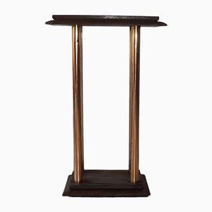 Vintage Art Deco Brass & Wood Side Table