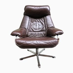 Scandinavian Leather Swivel Chair from Skoghaug Industri, 1960s