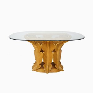 Rattan & Glass Bevelled Dining Table, 1970s