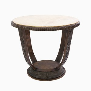 Vintage Art Deco French Table with Marble Top