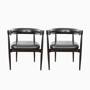 Italienische lackierte Holz & Kunstleder Stühle von Fratelli Reguitti, 1960er, 2er Set