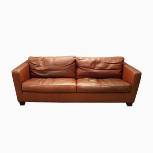 Cognacfarbenes 2-Sitzer Leder Sofa von Molinari, 1990er